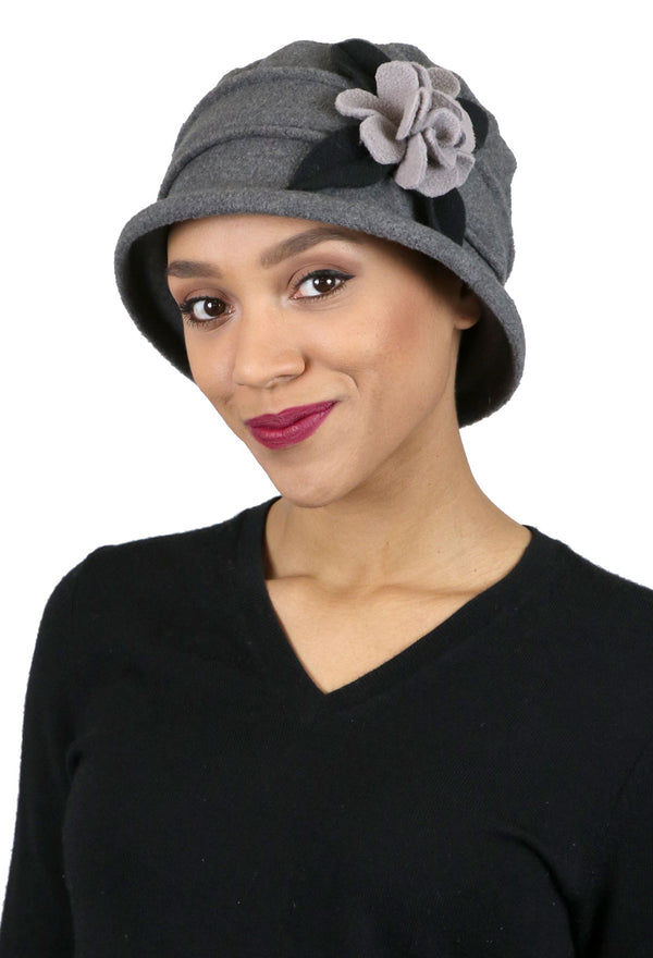 Lizzy Luxury Fleece Cloche Hat for Women Contrast Colors for Women With Large Heads