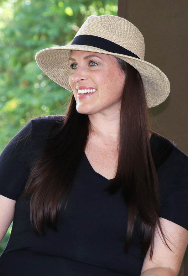 Wide Brim Fedora Sun Hat for Women 50+ UPF Sun Protection