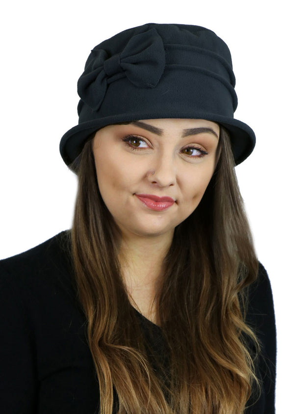 Fleece Bow Cloche Hat for Women