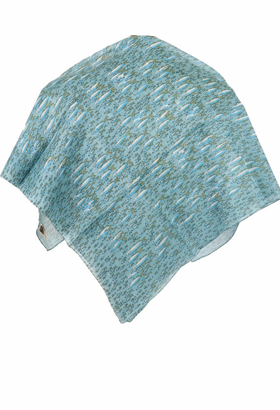 "Caracia Cotton Head Scarf Lightweight Summer Chemo Headwear for Women 31"" Square Gone Fishing"