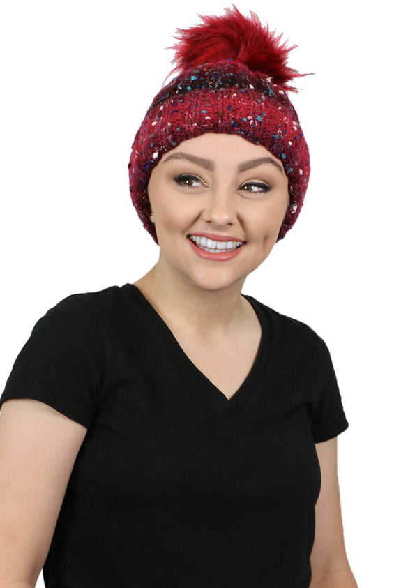 Holly Jolly Knit Pom Pom Beanie Hat for Women