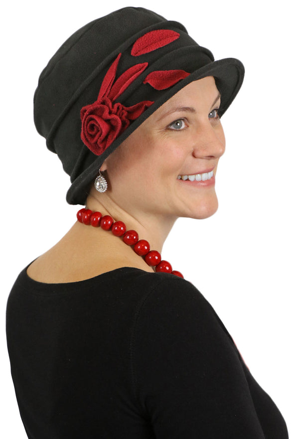 Lady Rose Fleece Flower Cloche Hat For Women