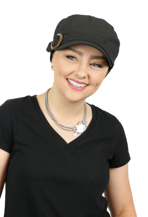 Linen Blend Military Hat Deep Cut for Chemo Patients With Small Heads (Black)