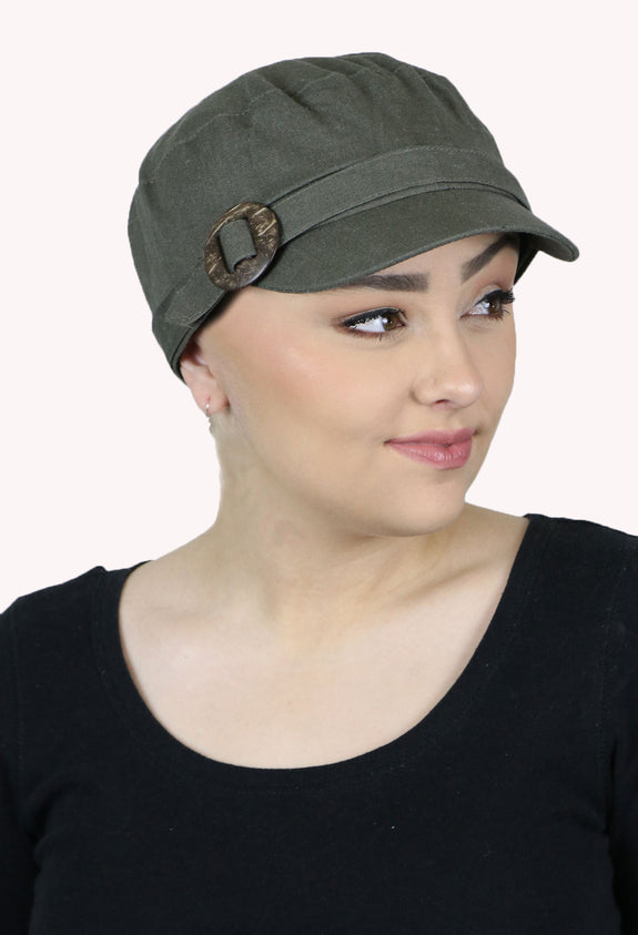 Linen Blend Military Cadet Hat for Girls and Women With Small Heads