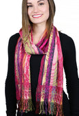 "Silk / Viscose / Lycra Stretchy Scarf By Rapti Fashion ""Showgirl"" Fuchsia Print"