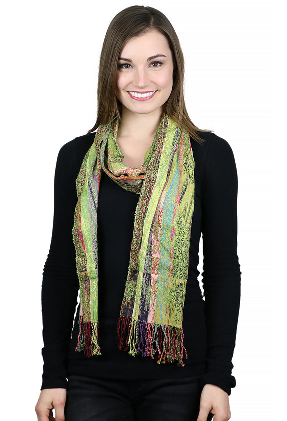 Silk / Viscose / Lycra Stretchy Scarf Parrot Green
