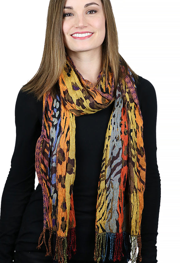 Silk / Viscose / Lycra Stretchy Neck Scarf Wavy Animal Print Warm Tones