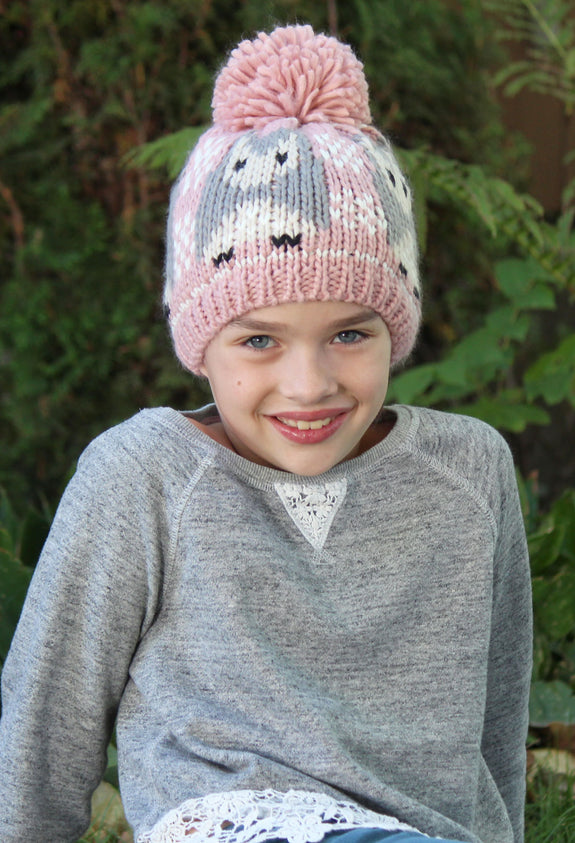 Snuggly Soft Owl Pom Pom Beanie for Kids