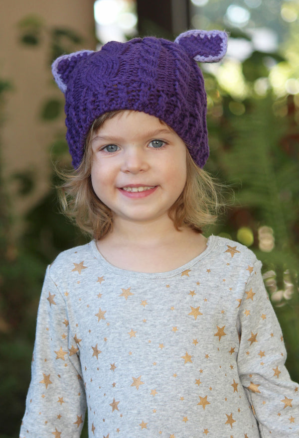 Comfy Critters Purple Knit Beanie For Kids