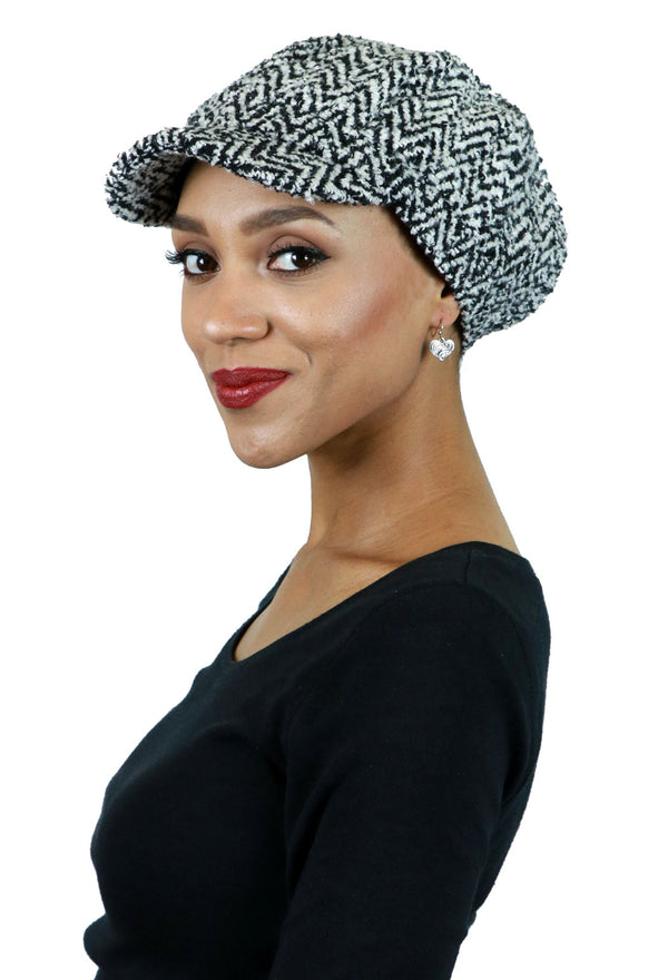 Roxbury Wool Blend Herringbone Tweed Newsboy Cap for Women