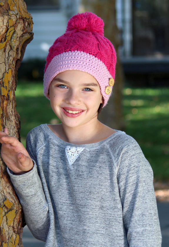 Snow Angel Girl's Knit Pom Pom Beanie Hat