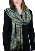 Pashmina Cashmere Silk Wrap Teal Paisley Fair Trade From Nepal
