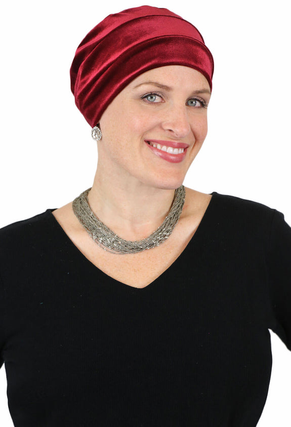 Jewel Tone Velvet Turban Hat for Cancer Headwear