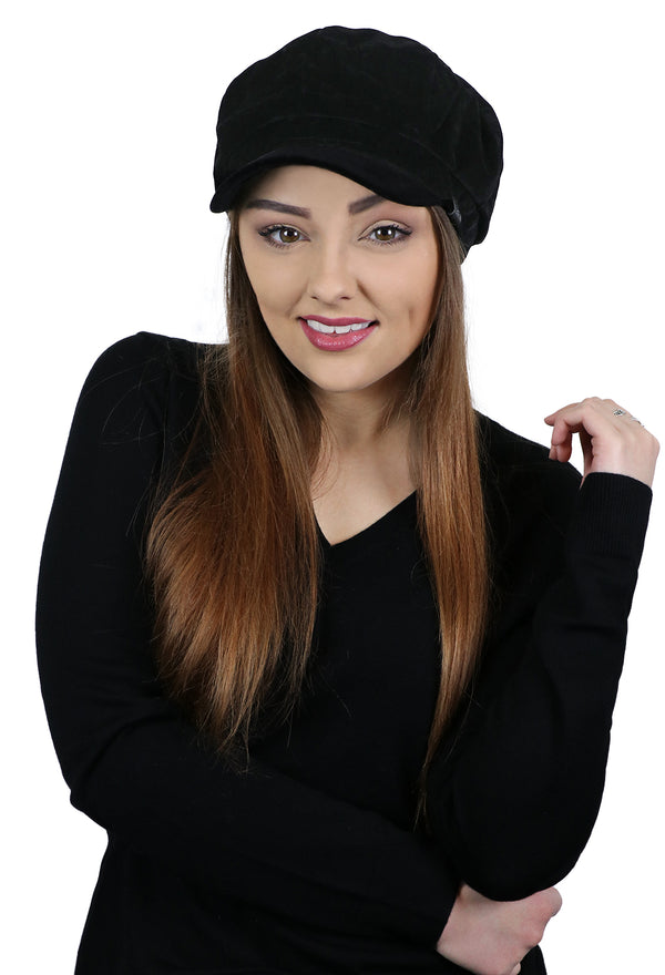 Brianna Ultra-Fine Velvet Newsboy Hat for Women