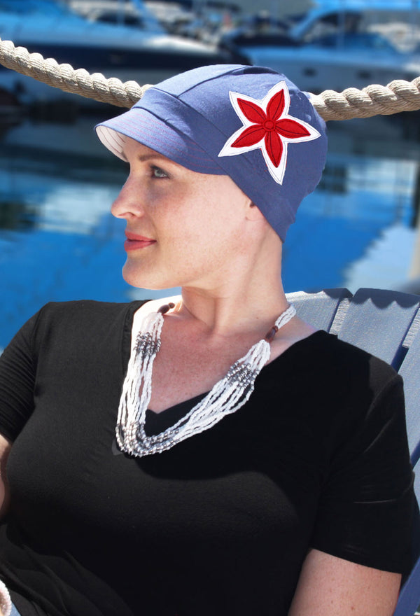 Whimsy Soft Cotton Chemo Cap for Women Yacht Club