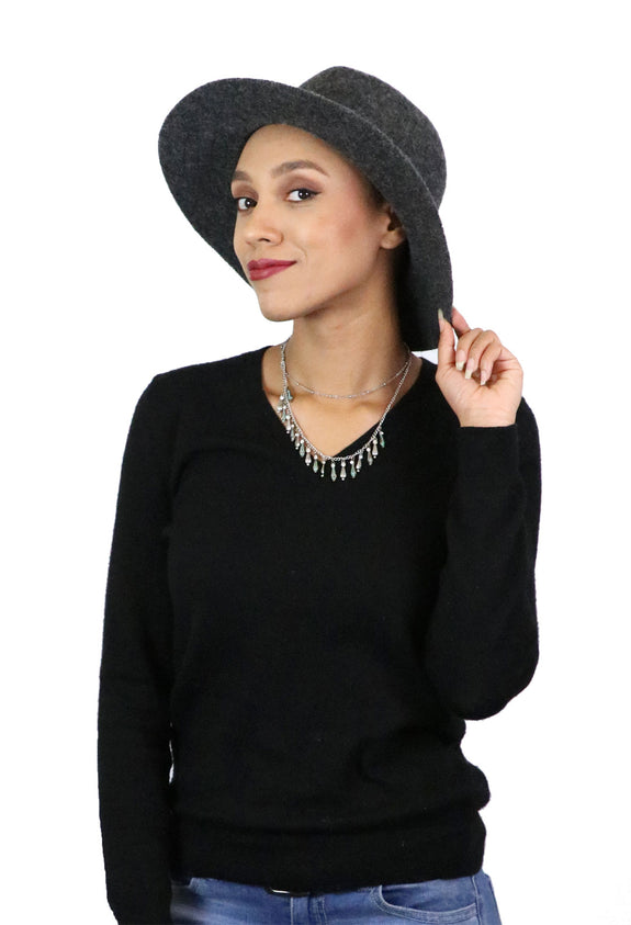 Misty Malloy Wide Brim Fedora for Women Wool Blend