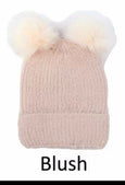Double Pom Pom Knit Beanie For Women Vegan-Friendly Faux Angora