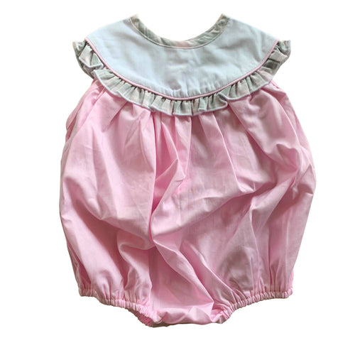 pale pink baby girls summer romper white pique collar grey check trim