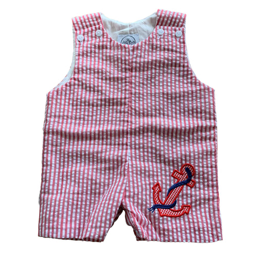 red and white stripe seersucker boys summer overall shortall anchor applique