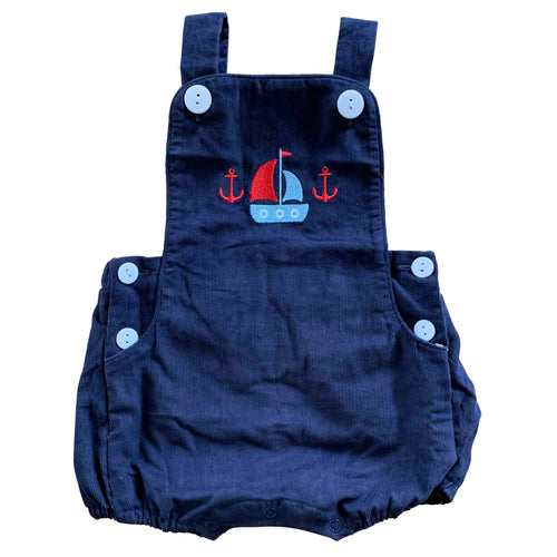 navy blue corduroy baby boys overall romper sailboat embroidery