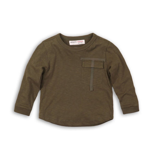 boys army green long sleeve tee top shirt