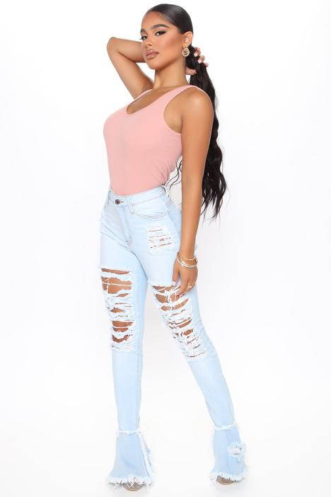 What You Mean Flare Leg Jeans - Light Blue Wash
