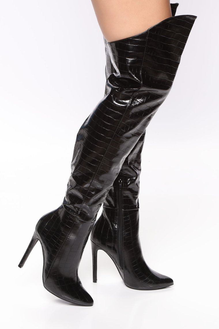 Over the Knee Black Boot 4.5 Inch Stiletto Heel