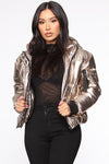 Metallic Gold Copper Puffer Jacket