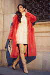 Faux Fur Coat Coral      size XL