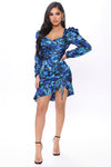 Violets Are Blue Mini Dress w/Long Sleeves