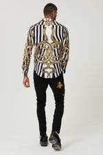 Hermano Snake Cuban Long Sleeve Shirt with Stripes Satin Shirt