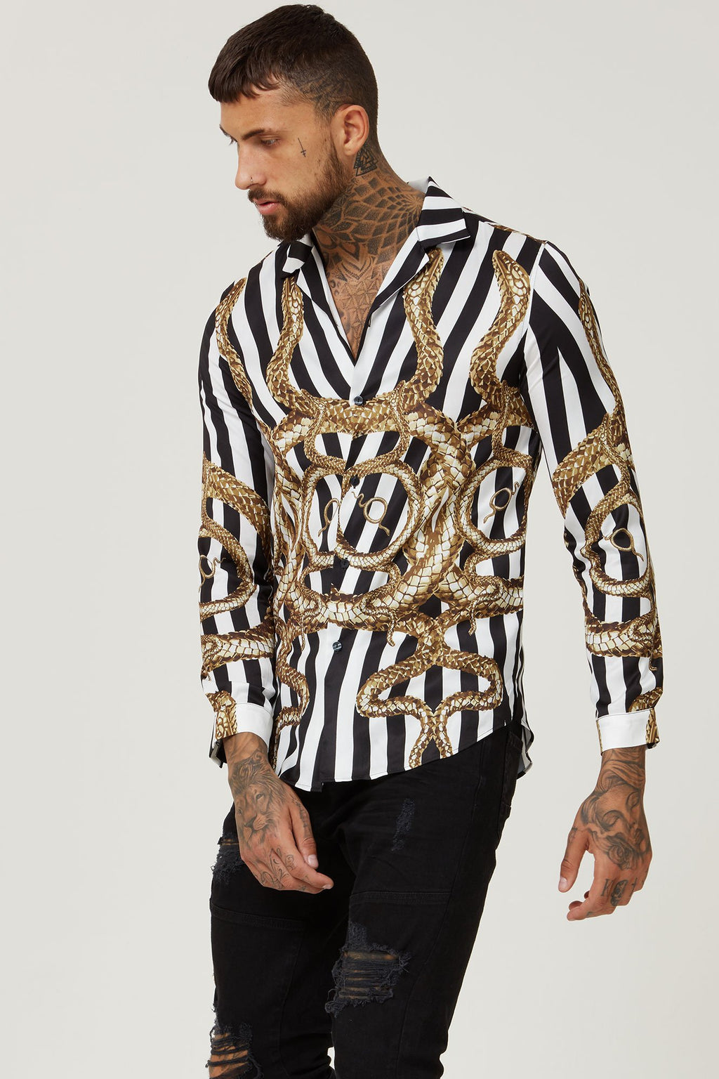 Hermano Snake Cuban Long Sleeve Shirt with Stripes