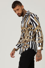 Hermano Snake Cuban Long Sleeve Shirt with Stripes Satin Shirt Versace Style