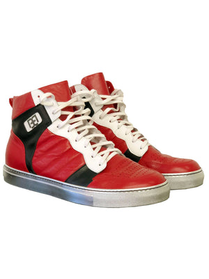 Red and Black Leather High Tops with Silver Sole - Brit Boss