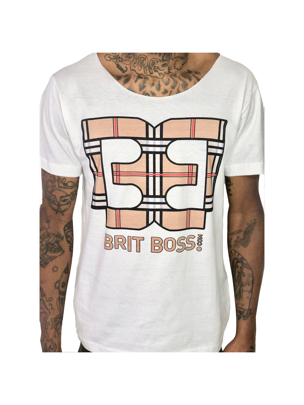 "Men T-Shirt ""Tartan Logo"" White by Brit Boss - Brit Boss"