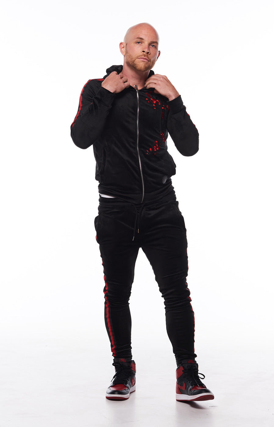 Men Tracksuit Black with Red Roses by Project x Paris