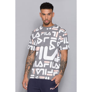 Men's Logo All Over T-Shirt by Black Line Fila