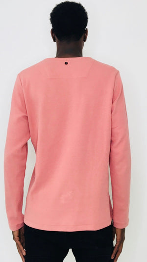 Men 'Distrikt' Pink Long-sleeve T-Shirt with long sleeves by Brit Boss