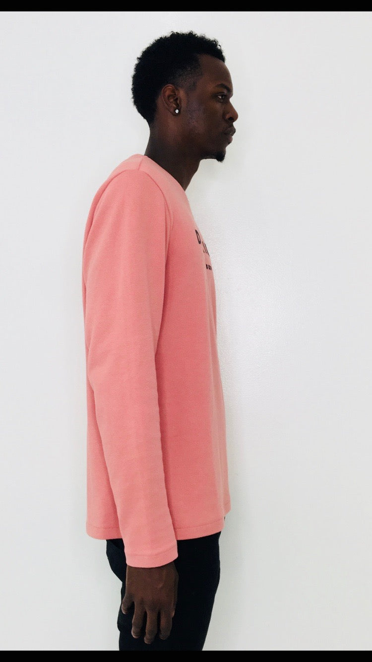 Men 'Distrikt' Pink Long-sleeve T-Shirt with long sleeves by Brit Boss - Brit Boss