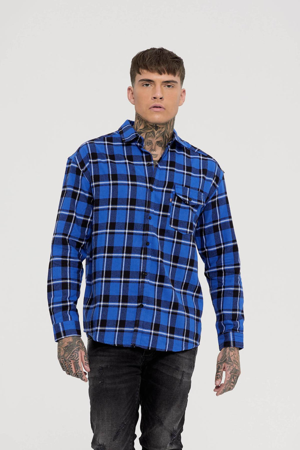 Oversized Blue Check Shirt available in United States, Find GFN at Fresh Clothing DC Store located in Washington DC, Dupont Circle. Buy online. Blue Fashion Shirts for Men, casual fashion and street fashion.