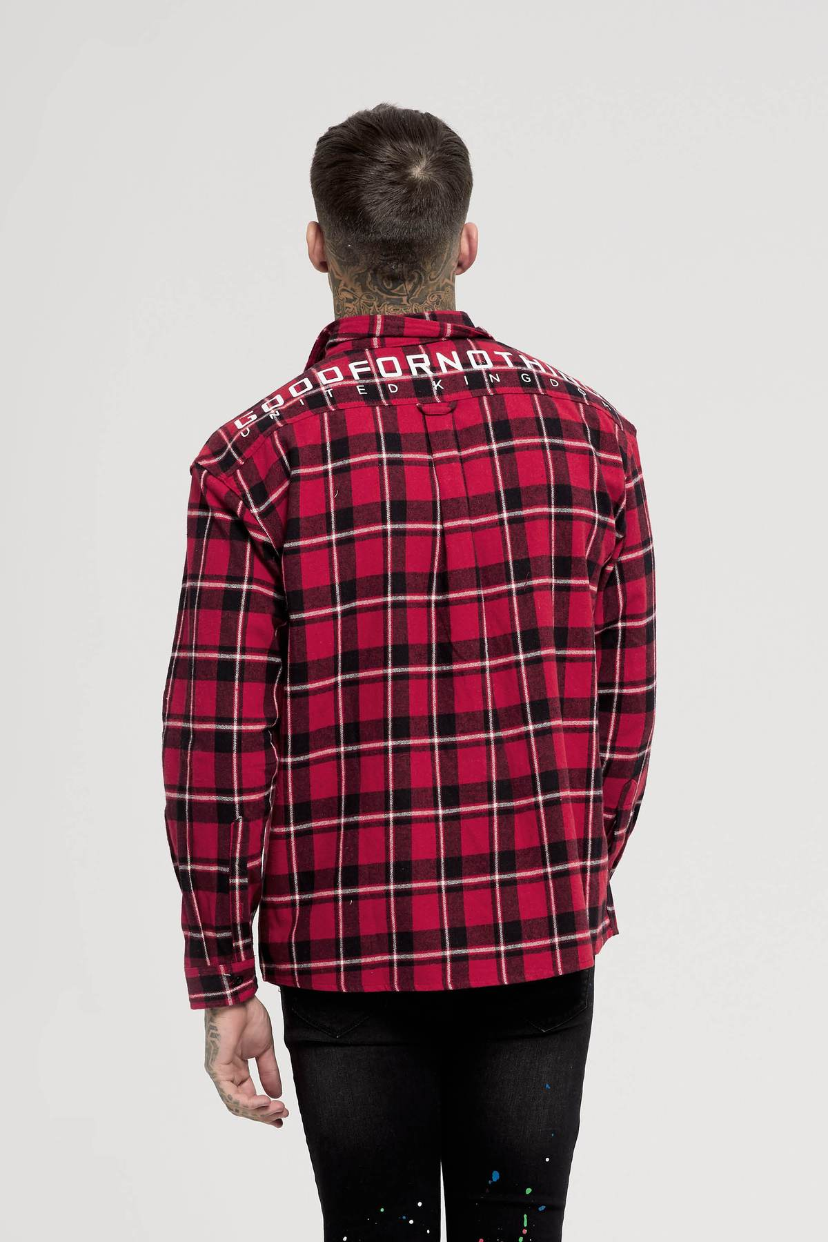Oversized Red Check Shirt Back View Buy Good For Nothing available in store USA Fresh Clothing DC Washington DC