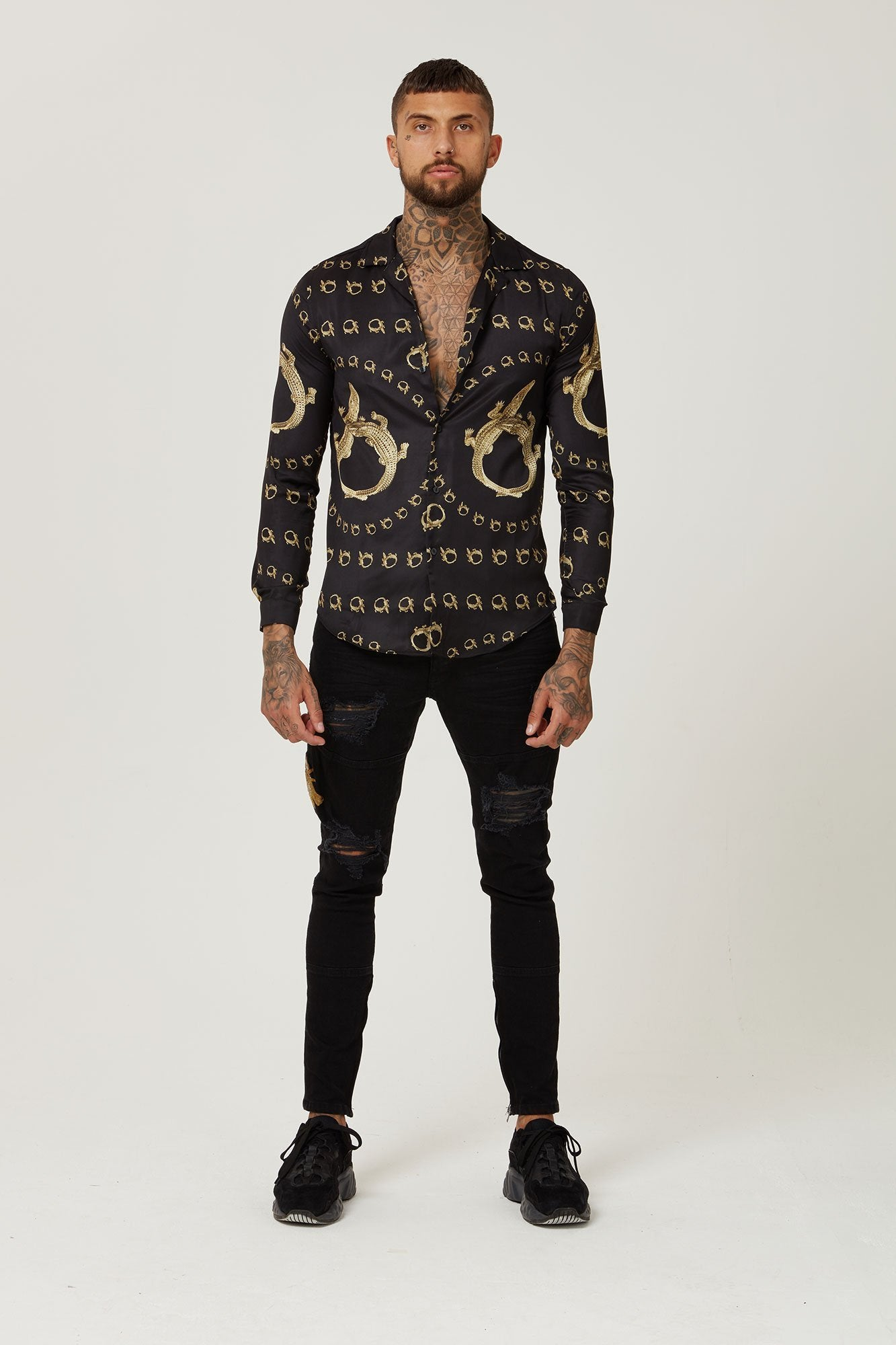 Hermano Crocodile Cuban Shirt Satin