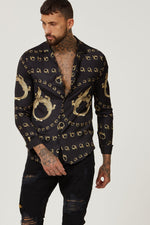 all over print long sleeve collar shirt cocodrile