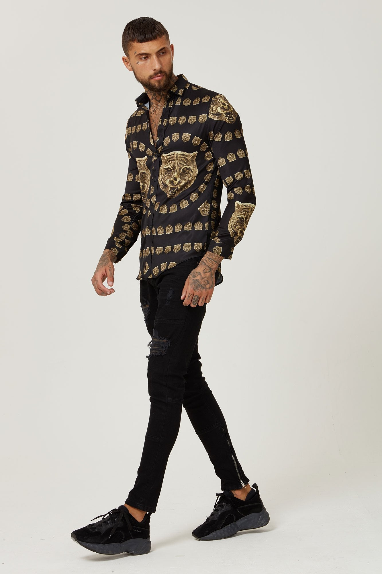 Hermano Gold Tiger Satin Shirt Versace Style