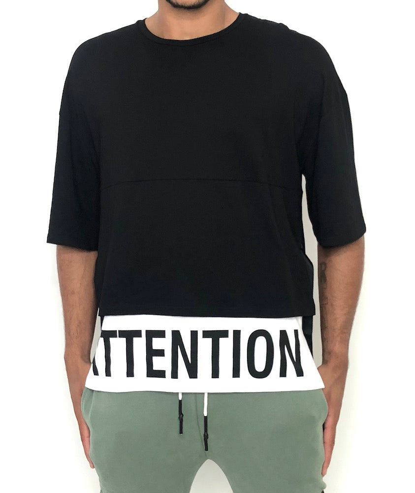 Men Black and White Cotton T-shirt Attention