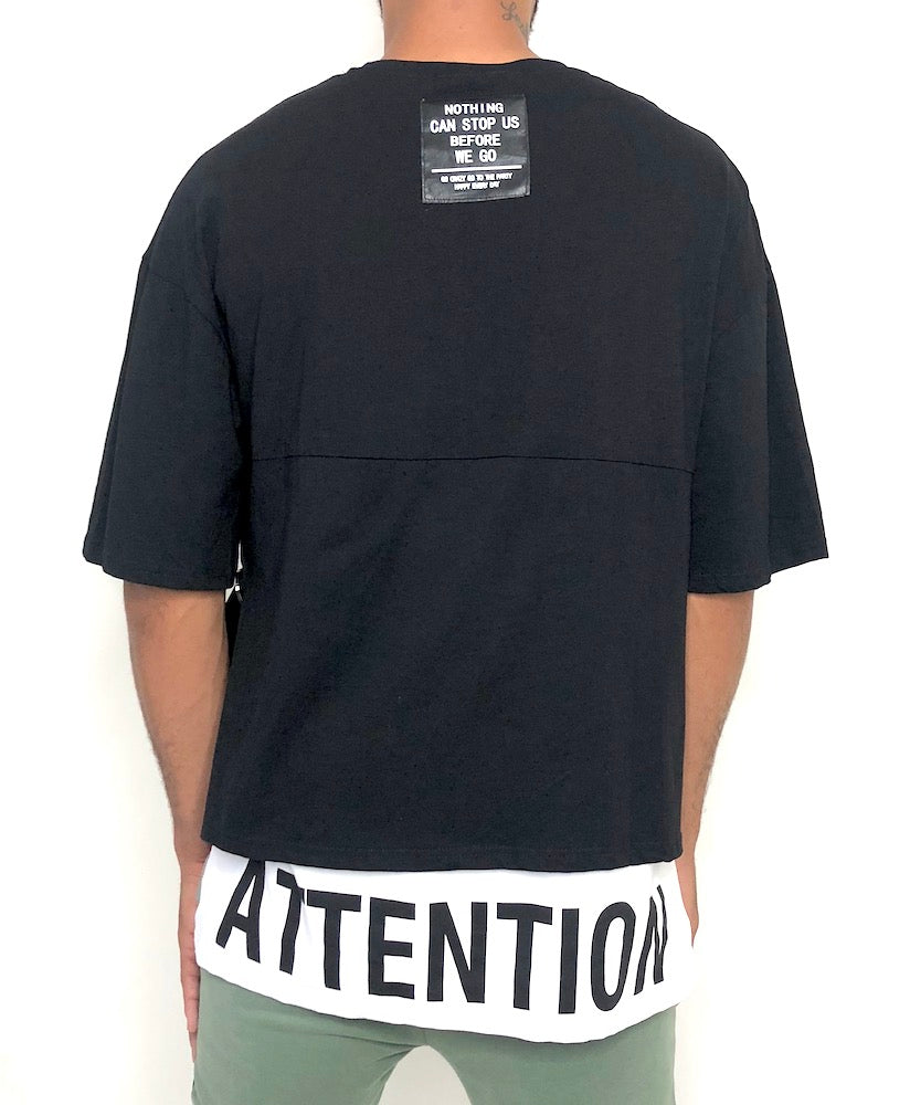 Men Black and White Cotton T-shirt Attention - Brit Boss
