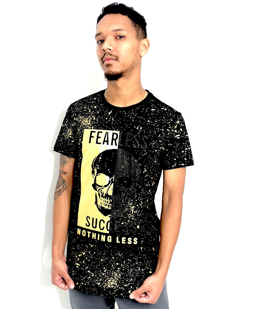 Man Fear Skull T-shirt Black and Gold
