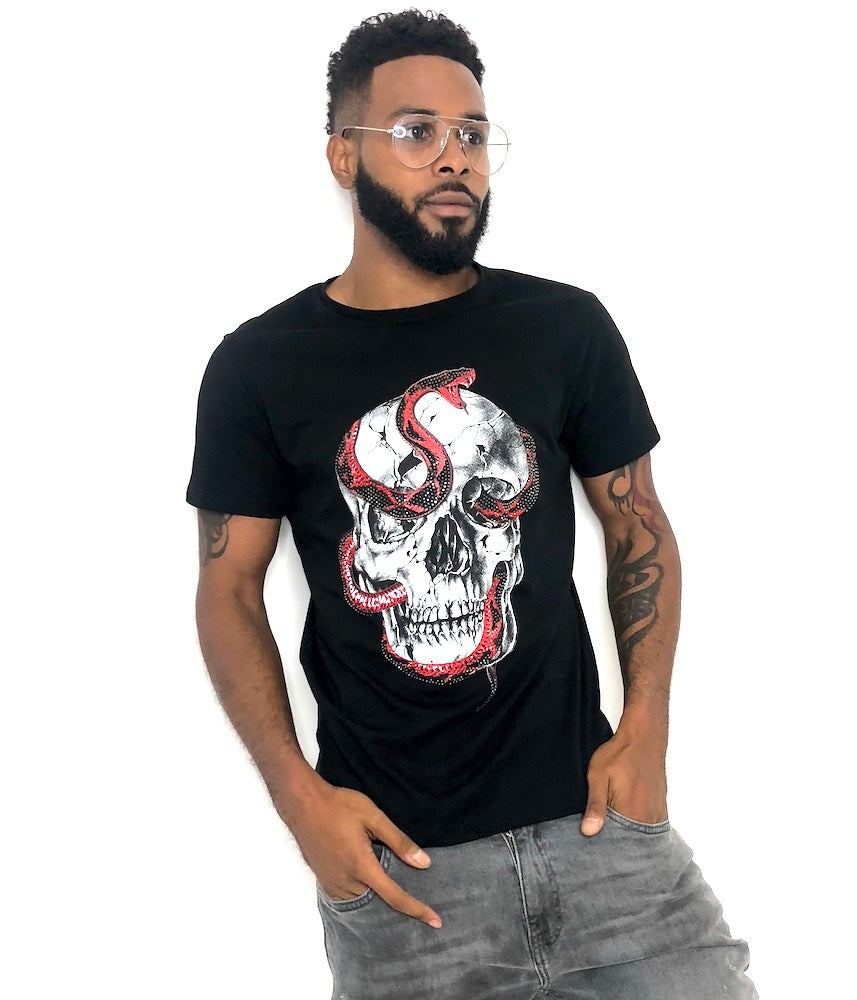 Man Black Fit Skull T-Shirt by Brit Boss - Brit Boss