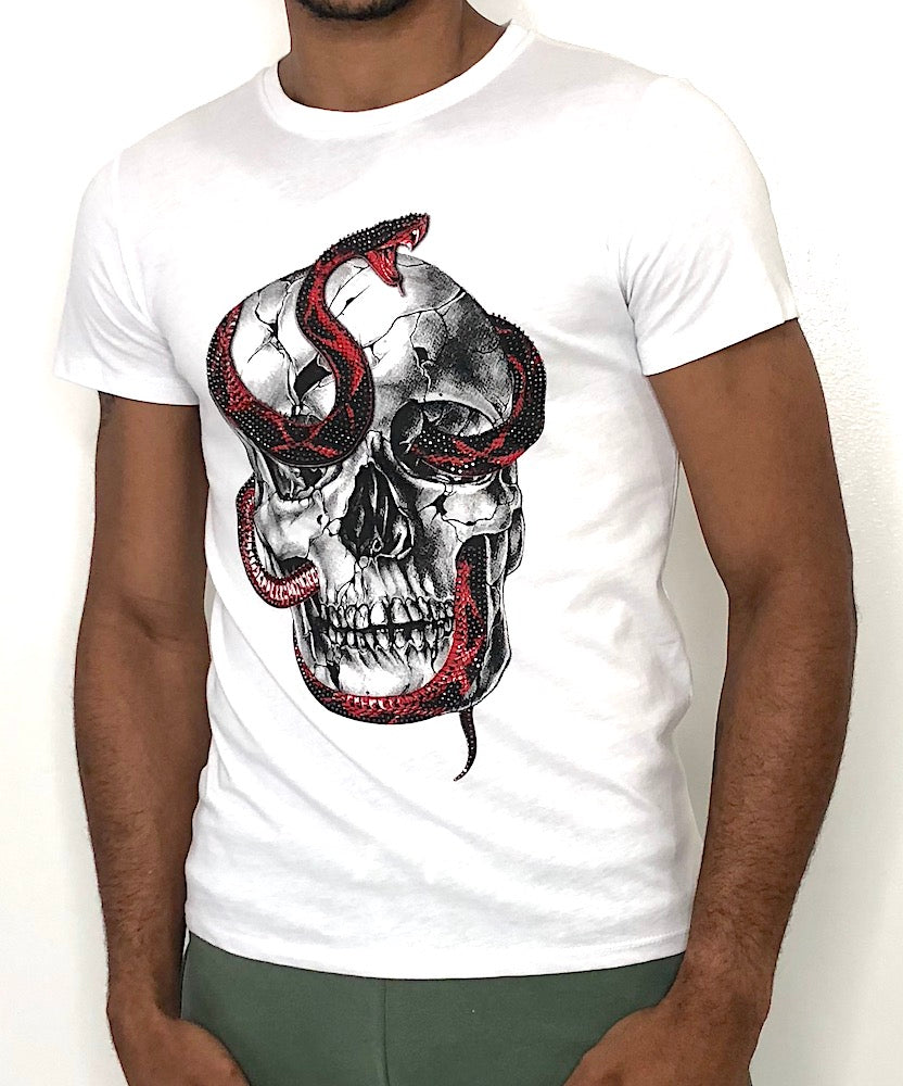 Man White Fit Skull T-Shirt by Brit Boss