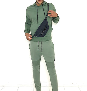 Man Pouch Hoody and Fit joggers Tracksuit Army Green - Brit Boss
